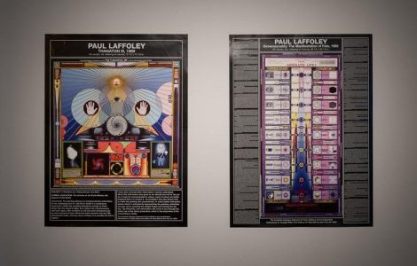 "Paul Laffoley, ""Dimensionality of the manifestation of Fate"", 1992, et ""Thanaton III"", 1989, posters / Crédit photo : Emile Ouroumov"